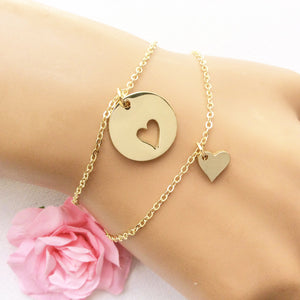 Mother daughter bracelets, gift for her, heart cutout charm bracelet for mother and daughter jewelry, GFMDHB1 - Statement Made Jewellery
