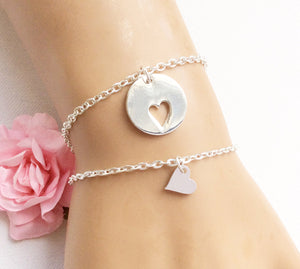 Silver round Mother and daughter bracelets - Statement Made Jewellery