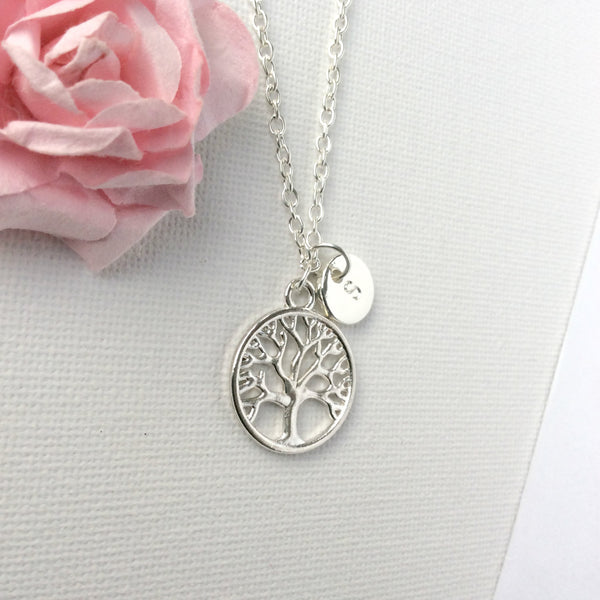 Silver Tree Necklace, Personalized Tree of life Necklace, Initial Necklace, Silver Tree Pendant, Tree Jewelry, round tree necklace , Jewelry - Statement Made Jewelry, Statement Made Jewellery  - 4