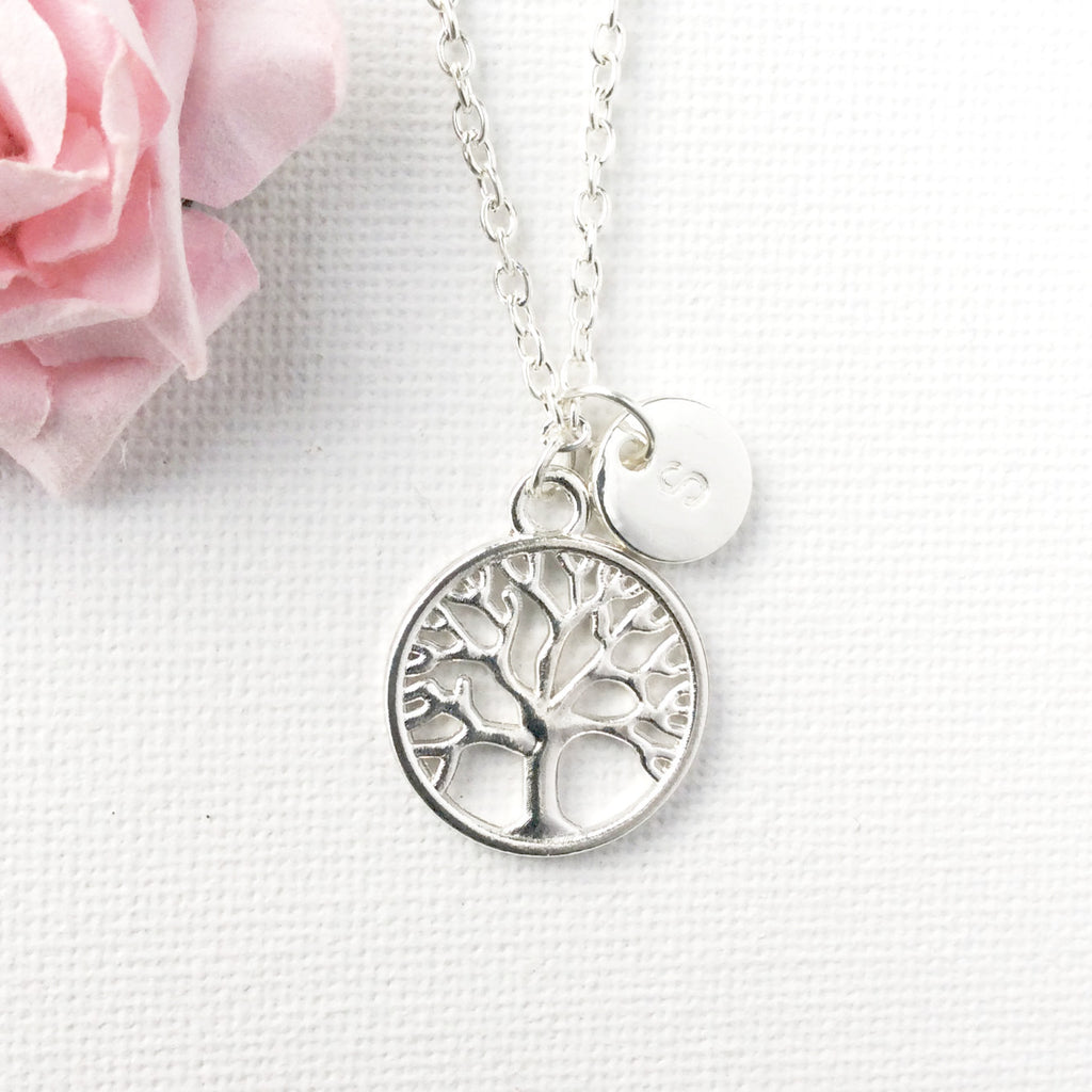 Silver Tree Necklace, Personalized Tree of life Necklace, Initial Necklace, Silver Tree Pendant, Tree Jewelry, round tree necklace , Jewelry - Statement Made Jewelry, Statement Made Jewellery  - 2
