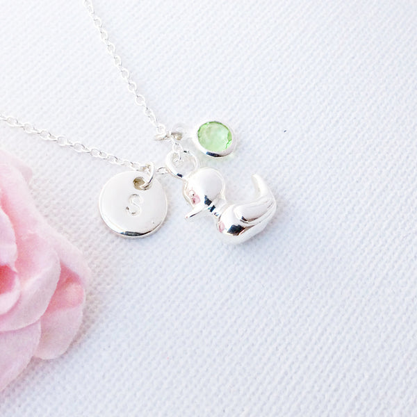 silver duckling Initial and birthstone necklace, duck necklace, birthstone necklace, initial necklace, duck necklace, duckling necklace , Jewelry - Statement Made Jewelry, Statement Made Jewellery  - 5