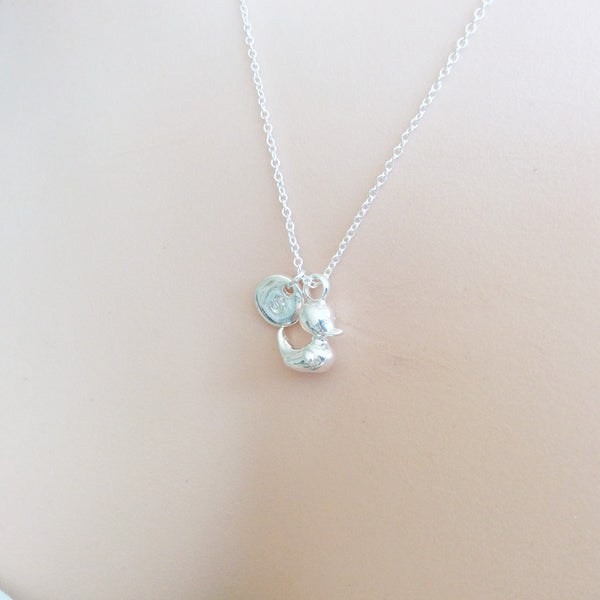 Silver duckling Initial and birthstone necklace, duck necklace, birthstone necklace, initial necklace, duck necklace, Silver duck, duck , Jewelry - Statement Made Jewelry, Statement Made Jewellery  - 5