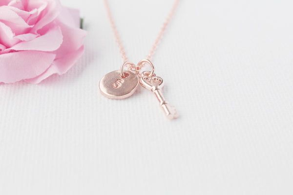 rose gold key Necklace, rose gold, rose gold key, rose gold key Pendant, Love Jewelry, Wedding Jewelry, Anniversary Gift, Bridal Party Gift , Jewelry - Statement Made Jewelry, Statement Made Jewellery  - 5