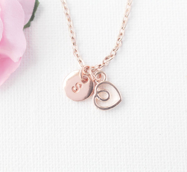rose gold Heart Necklace, rose gold heart, rose gold  Heart Pendant, Love Jewelry, Wedding Jewelry, Anniversary Gift, Bridal Party Gift , Jewelry - Statement Made Jewelry, Statement Made Jewellery  - 1