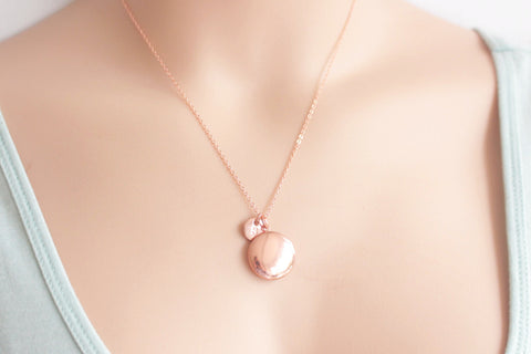 Image of Rose gold round locket and initial necklace - Statement Made Jewellery