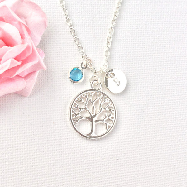 silver tree of life Initial and birthstone necklace, tree necklace, birthstone necklace, initial necklace, tree of life necklace , Jewelry - Statement Made Jewelry, Statement Made Jewellery  - 4