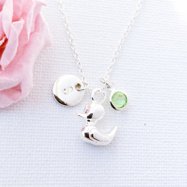 silver duckling Initial and birthstone necklace, duck necklace, birthstone necklace, initial necklace, duck necklace, duckling necklace , Jewelry - Statement Made Jewelry, Statement Made Jewellery  - 1