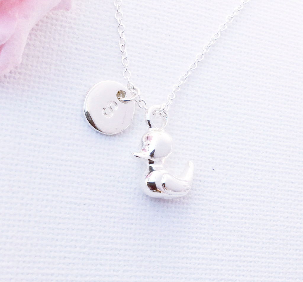 Silver duckling Initial and birthstone necklace, duck necklace, birthstone necklace, initial necklace, duck necklace, Silver duck, duck , Jewelry - Statement Made Jewelry, Statement Made Jewellery  - 1