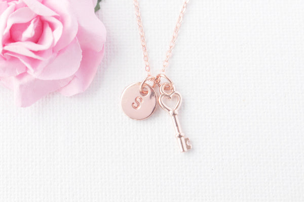 Rose gold key and initial necklace - Statement Made Jewellery