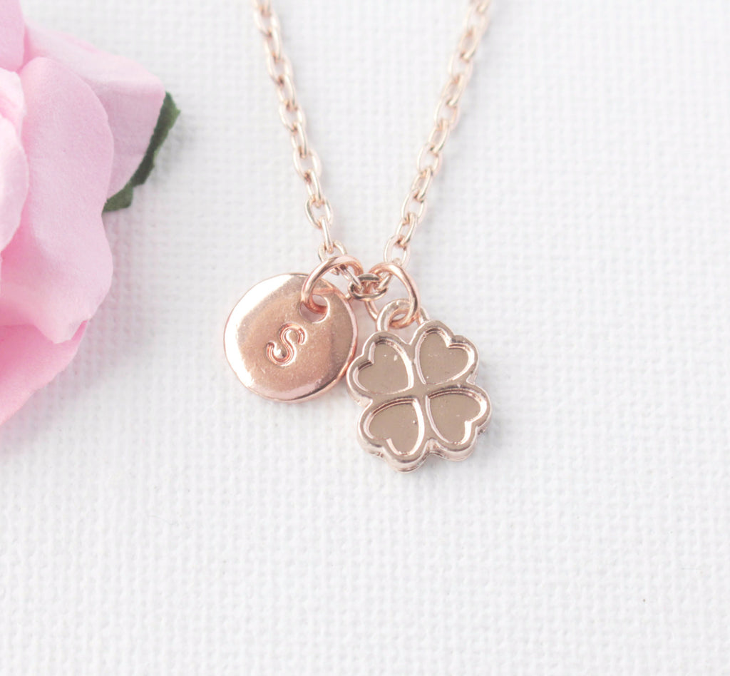Gold rose clover Necklace, rose gold clover Jewellery, rose clover necklace, good luck jewelry, good luck gift,best friends gift,RINCLO3 , Jewelry - Statement Made Jewelry, Statement Made Jewellery  - 1