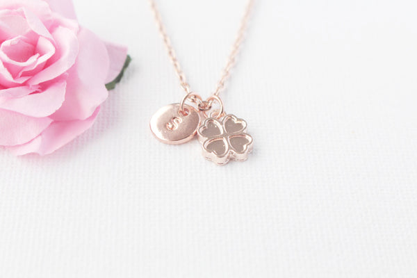 Gold rose clover Necklace, rose gold clover Jewellery, rose clover necklace, good luck jewelry, good luck gift,best friends gift,RINCLO3 , Jewelry - Statement Made Jewelry, Statement Made Jewellery  - 5