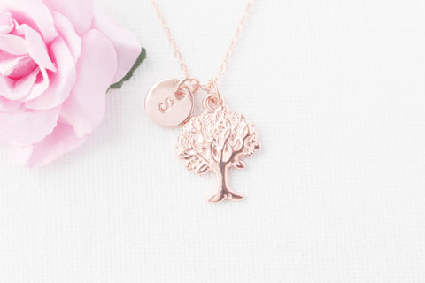 Rose gold Tree Necklace, Personalized Tree of life Necklace, Initial Necklace, rose gold Tree Pendant, Tree Jewelry, rose gold necklace. , Jewelry - Statement Made Jewelry, Statement Made Jewellery  - 1