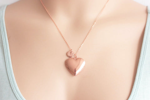 Rose gold heart locket with initial - Statement Made Jewellery