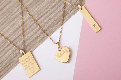 Gold engraved message personalised heart bar rectangle necklace - Statement Made Jewellery