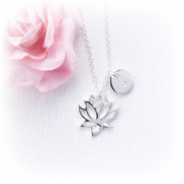 Silver Lotus Flower Necklace, personalized initial charm custom necklace , Dress Necklaces - Statement Made Jewelry, Statement Made Jewellery  - 1