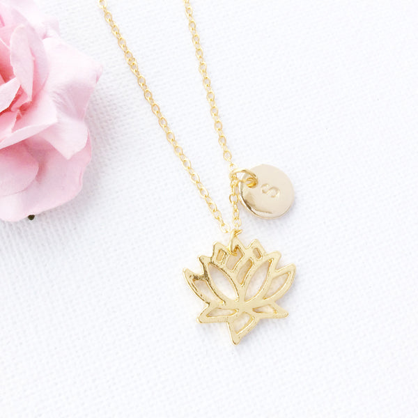 Gold Lotus Flower necklace, initial charm custom necklace , Dress Necklaces - Statement Made Jewelry, Statement Made Jewellery  - 2