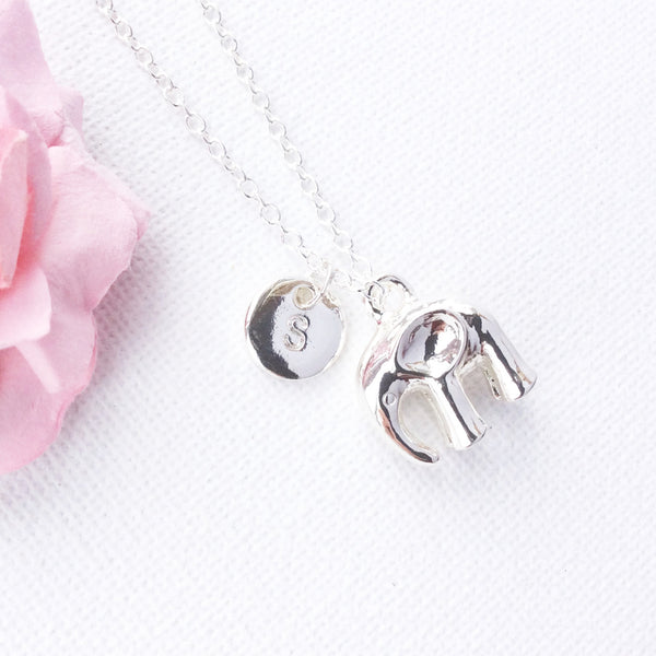 Silver polished elephant initial necklace - elephant jewelry - Statement Made Jewellery