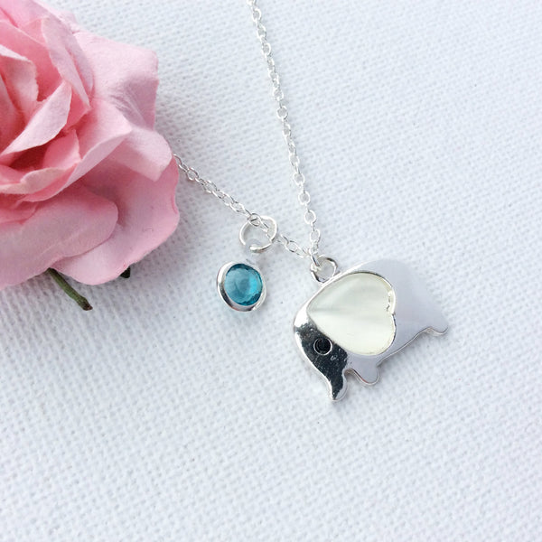 Silver elephant birthstone necklace with mother of pearl - Statement Made Jewellery