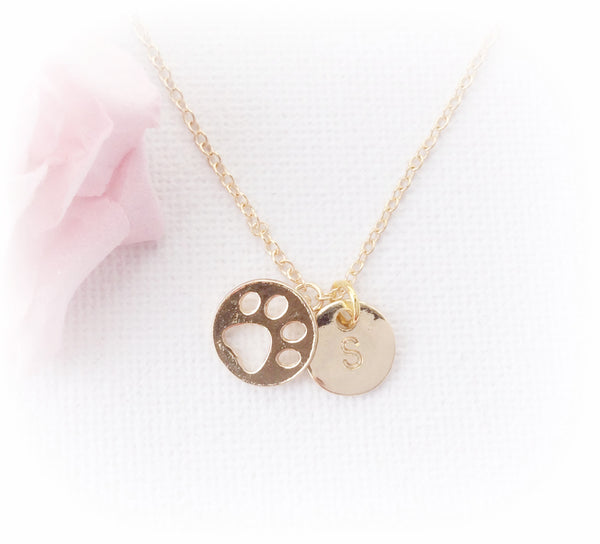 Gold pawprint jewellery with initial necklace - Statement Made Jewellery