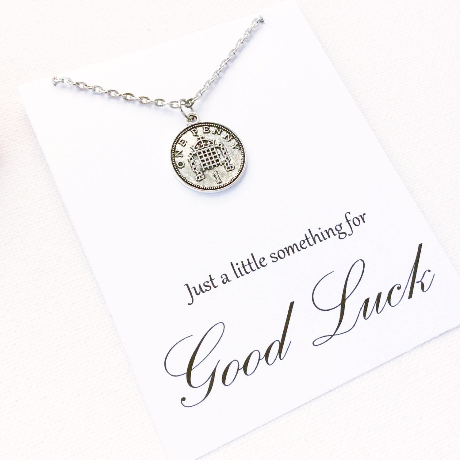 Silver lucky penny Necklace, good luck gift, bon voyage gift, good luck present, lucky penny, good luck, goodbye gift, BMCNGLLP , Jewelry - Statement Made Jewelry, Statement Made Jewellery  - 2
