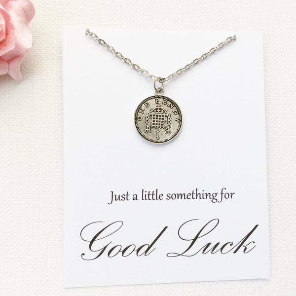 Silver lucky penny Necklace, good luck gift, bon voyage gift, good luck present, lucky penny, good luck, goodbye gift, BMCNGLLP , Jewelry - Statement Made Jewelry, Statement Made Jewellery  - 1