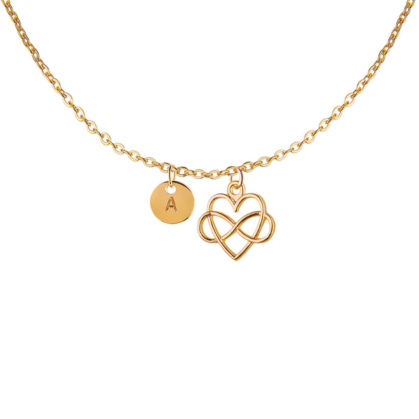 Gold infinity heart and round initial necklace - Statement Made Jewellery