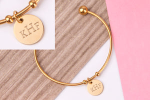 Monogram initial gold engraved message personalised Bangle - Statement Made Jewellery