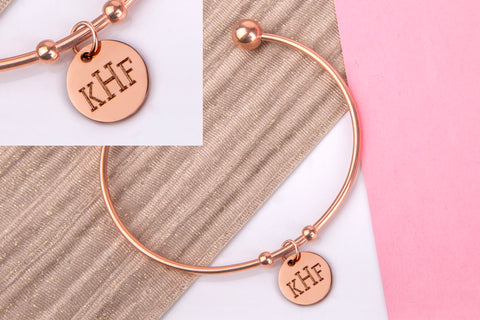 initial monogram bangle rose gold engraved message personalised Bangle - Statement Made Jewellery