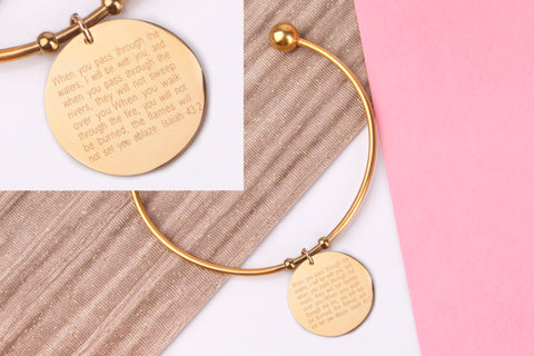 Bible verse gift, isaiah 43:2 gold engraved message personalised Bangle - Statement Made Jewellery