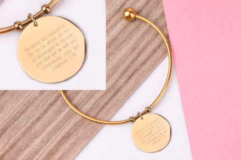 Bible verse gift, joshua 1.9 gold engraved message personalised Bangle - Statement Made Jewellery