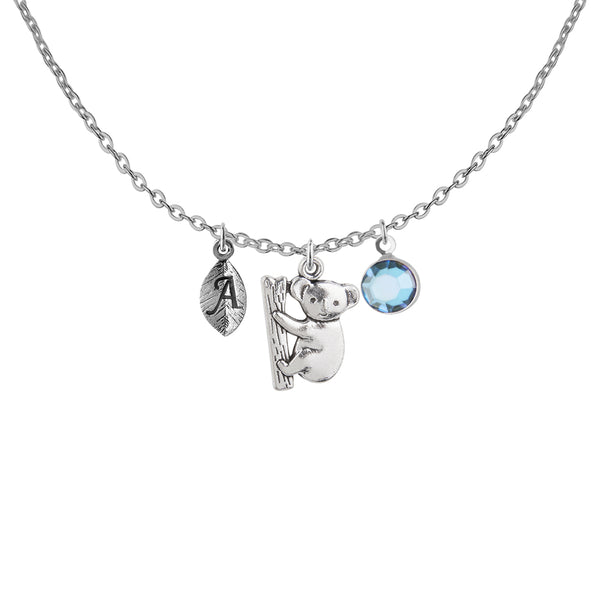 Tibetan silver Personalised koala charm and initial and birthstone necklace - Statement Made Jewellery
