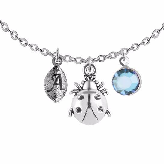 Tibetan silver Personalised ladybird charm and round initial with birthstone necklace - Statement Made Jewellery