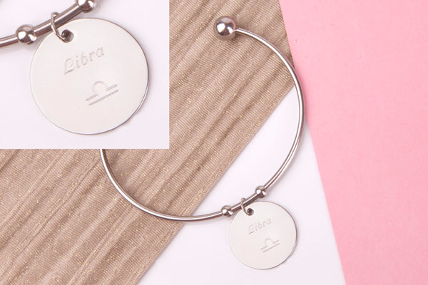 Libra Stainless steel engraved message personalised Bangle - Statement Made Jewellery