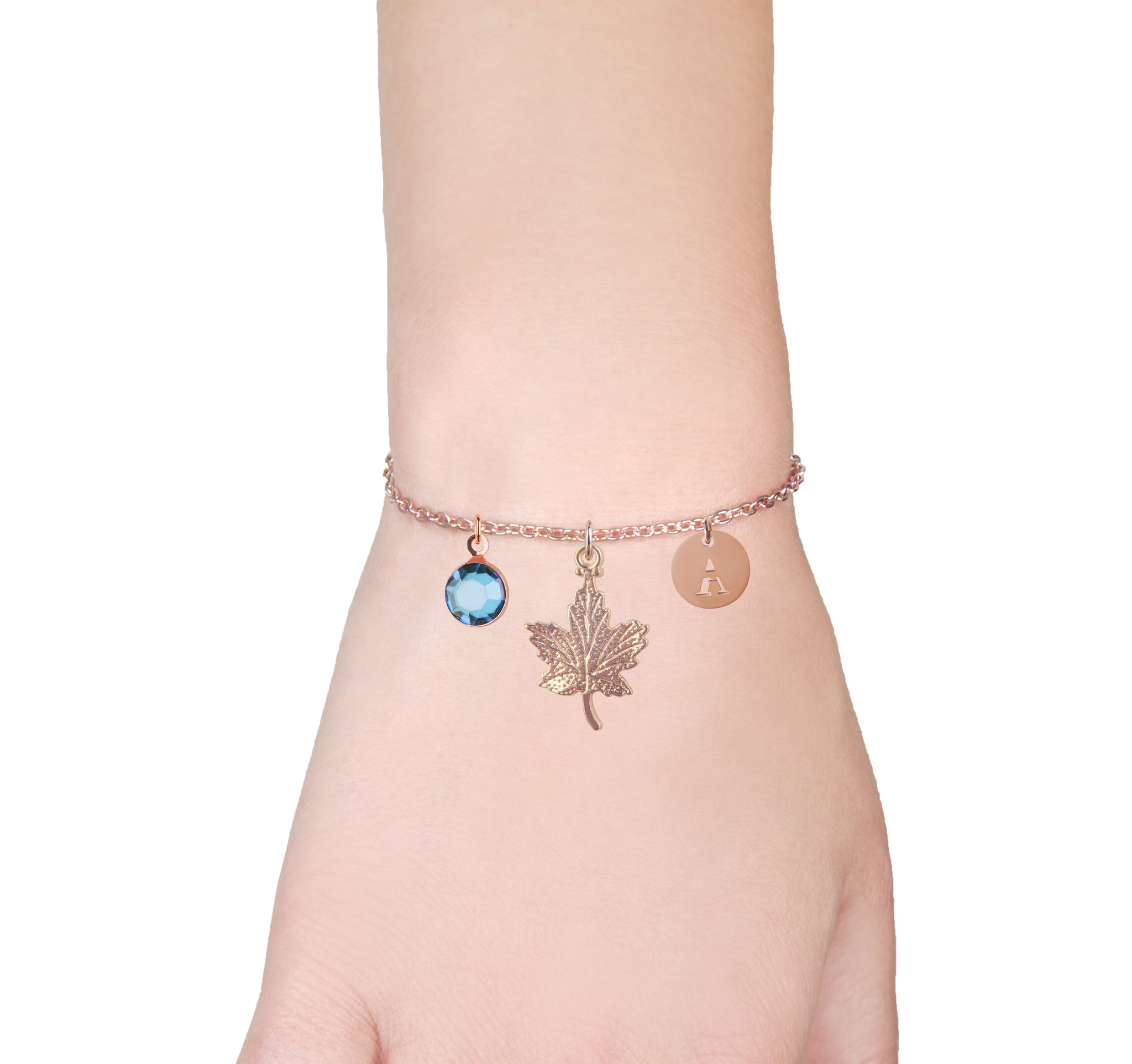 Canadian maple leaf rose gold bracelet with birthstone and initial - Canadian jewellery - Statement Made Jewellery
