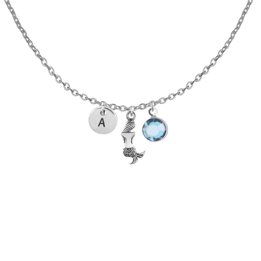 Tibetan silver Personalised mermaid circle charm and initial with birthstone necklace - Statement Made Jewellery