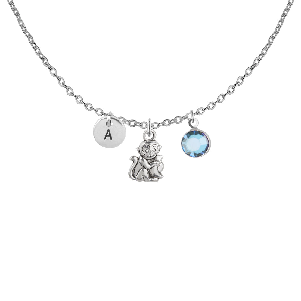 Tibetan silver Personalised monkey charm and initial with birthstone necklace - Statement Made Jewellery