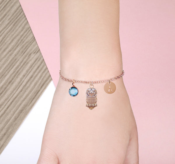 Rose Gold owl bracelet with birthstone and initial - owl jewelry - Statement Made Jewellery