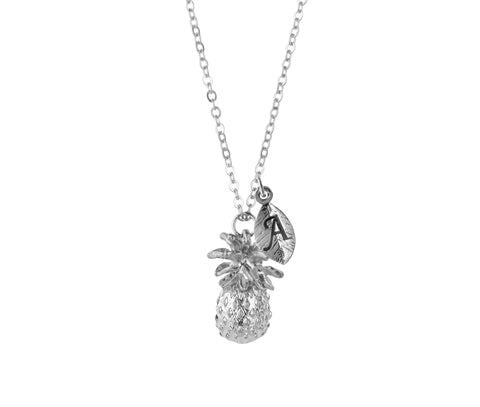Personalised pineapple charm with initial handmade customised necklace - Statement Made Jewellery