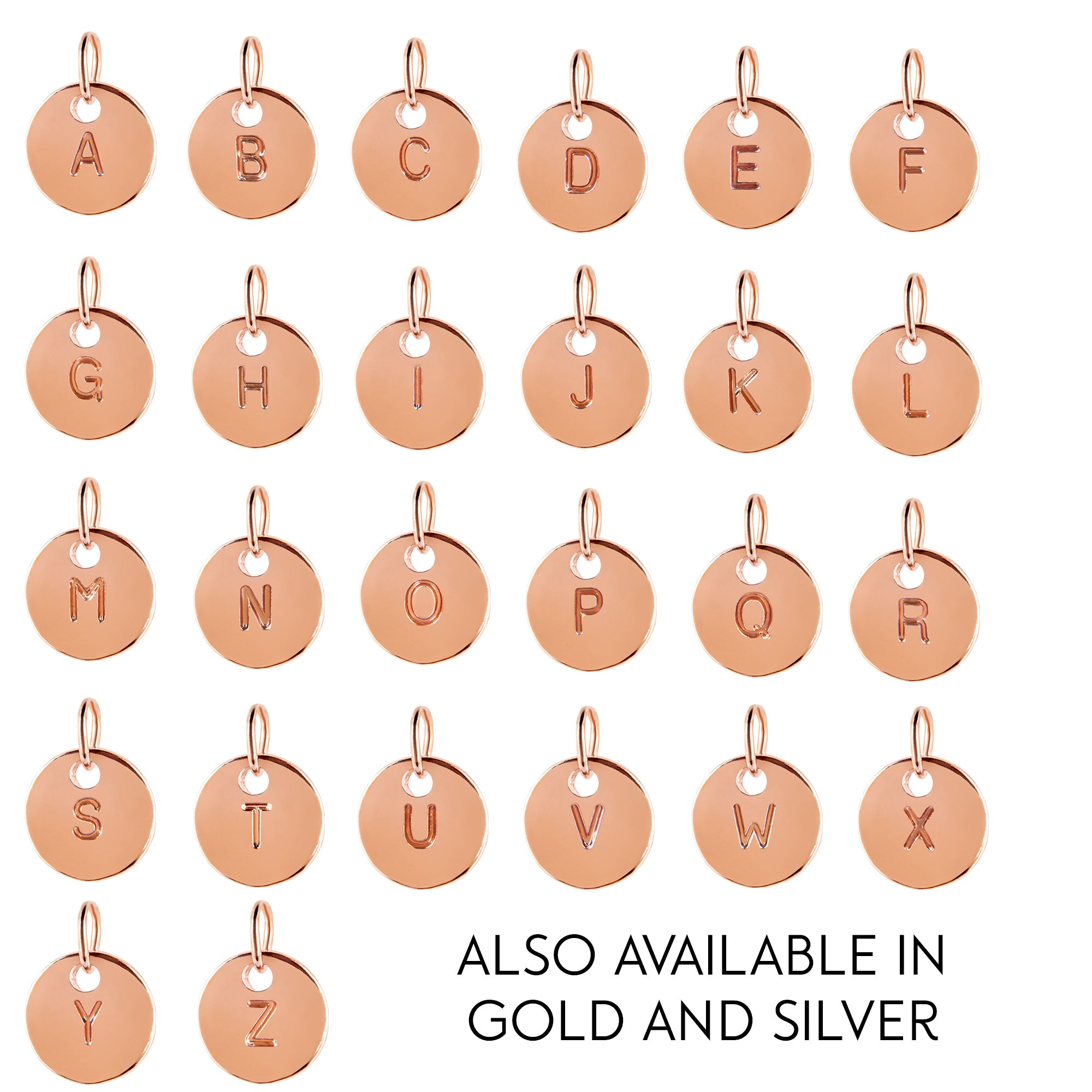 Rose Gold Round Disc Initial add-on charm- to add to existing orders only! - Statement Made Jewellery