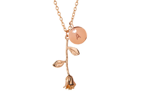 Rose gold rose and initial necklace - Statement Made Jewellery