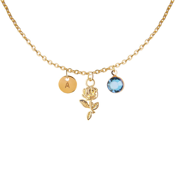 Gold rose charm and round initial and birthday birthstone necklace - Statement Made Jewellery