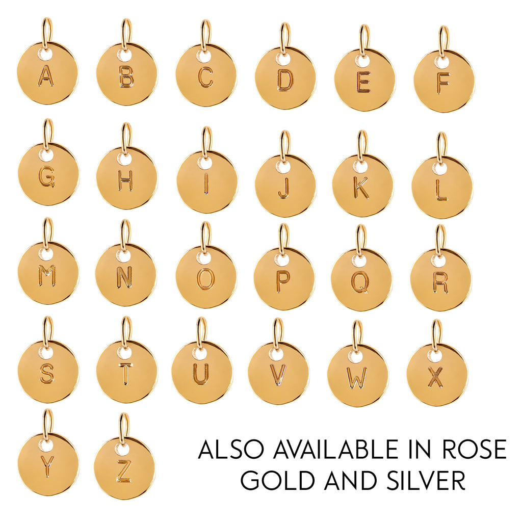 Gold 3D Rose and round initial necklace - Statement Made Jewellery