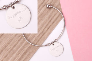 Sagittarius Stainless steel engraved message personalised Bangle - Statement Made Jewellery