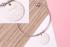 Taurus Stainless steel engraved message personalised Bangle - Statement Made Jewellery