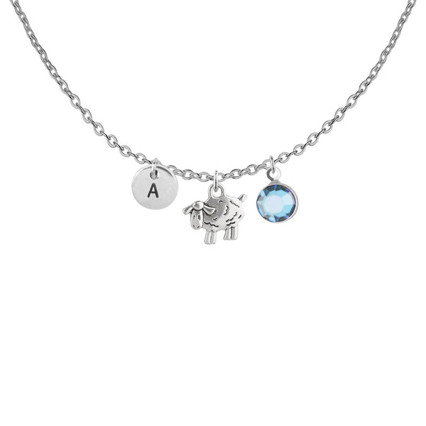 Sheep silver necklace with birthstone and initial - wishing well jewellery | Statement Made Jewellery - Statement Made Jewellery
