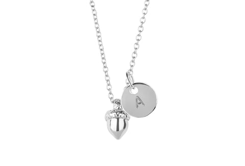 Personalised acorn charm with initial handmade customised necklace - Statement Made Jewellery