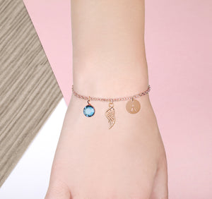 Angel Wing Heart rose gold bracelet with birthstone and initial - guardian angel jewellery | Statement Made Jewellery - Statement Made Jewellery