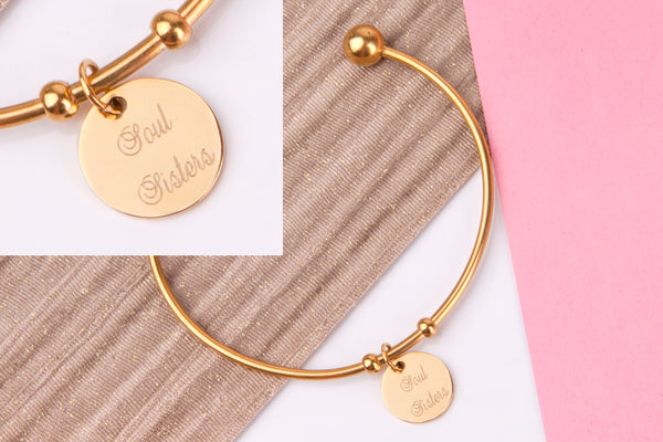Soul sister gold engraved message personalised Bangle - Statement Made Jewellery