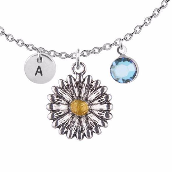 Tibetan silver Personalised sunflower charm and round initial with birthstone necklace - Statement Made Jewellery