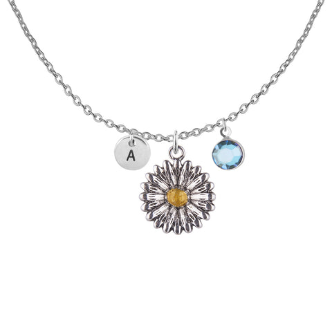 Image of Tibetan silver Personalised sunflower charm and round initial with birthstone necklace - Statement Made Jewellery